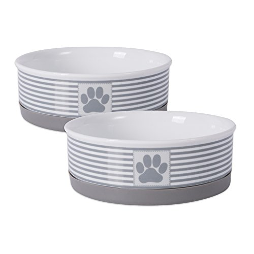 Best of – Bone Dry DII Paw Patch & Stripes Ceramic Pet Bowl for Food & Water with Non-Skid Silicone Rim for Dogs and Cats (Medium – 6″ Dia x 2″ H) Gray – Set of 2 – FREE SHIPPING