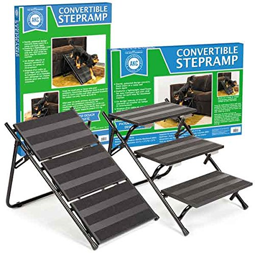 "Best of – AKC Convertible Pet Steps & Ramp with Anti-Slip Strips – Lightweight Frame to Help Pets Climb, 21.5""L x 17.25""W x 15""H – FREE SHIPPING"