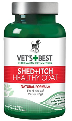 Effective – Vet's Best Healthy Coat Shed and Itch Relief Dog Supplements, 50 Chewable Tablets, USA Made – FREE SHIPPING