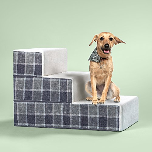 Zinus Cozy Pet Stairs/Pet Ramp/Pet Ladder/Grey Checked, Medium – FREE SHIPPING