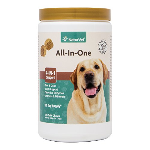 Effective – NaturVet All-in-One Dog Soft Chew Supplement, Skin & Coat Health, Joint Support, Digestive Health, Vitamin and Mineral Support, Overall Health Boost For Your Dog, Made by – FREE SHIPPING