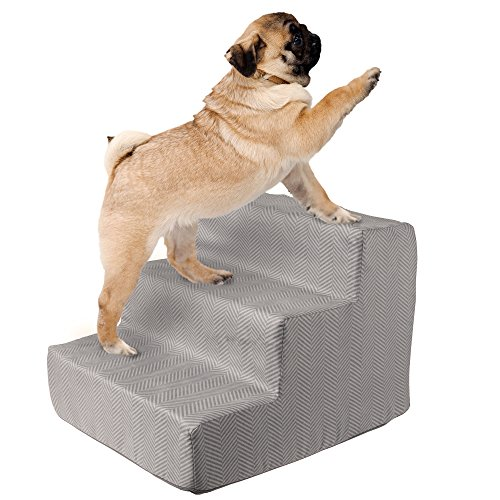 PETMAKER High Density Foam Pet Stairs 3 Steps with Machine Washable Zippered Removeable Micro-Fiber Cover with non-slip bottom by Print on Gray – FREE SHIPPING