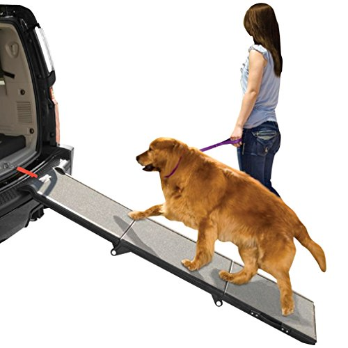 Best of – Pet Gear Tri-Fold Ramp 71 Inch Long Extra Wide Portable Pet Ramp for Dogs/Cats up to 200lbs, Patented Compact/Easy Fold with Safety Tether – FREE SHIPPING