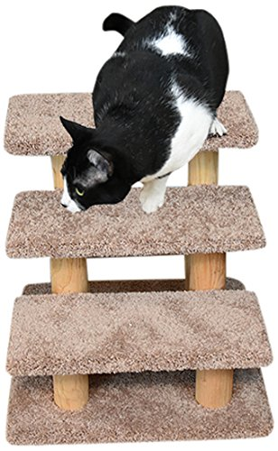 New Cat Condos 110223-Brown Wood Constructed Large Pet Stairs for Cats and Dogs, Large – FREE SHIPPING