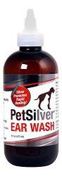 PetSilver Ear Wash (8oz) with Chelated Silver. Kills 99.9% of Bacteria