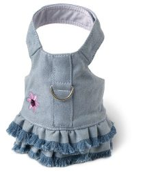 Doggles Dog Harness Dress with Jean Fringe, Blue, Extra Small
