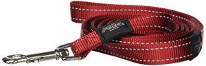 Reflective Dog Leash for Large Dogs, 3/4″ wide, 6′ long, Red