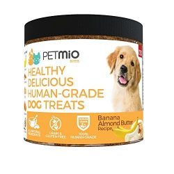 PetMio Bites Human Grade Dog Treats, Banana Almond Butter Pumpkin Recipe, Certified Non-GMO, Gluten Free, Grain Free, All Natural, and Made in the US