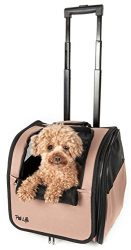 Pet Life Wheeled Collapsible Breathable Airline Approved Travel Pet Dog Carrier, One Size, Brown
