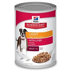 Hill's Science Diet Adult Light Wet Dog Food, Liver, Canned Dog Food for weight management, 13 oz, 12 Pack