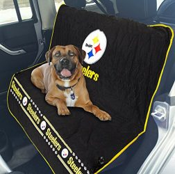 NFL CAR SEAT COVER – PITTSBURGH STEELERS Waterproof, Non-slip BEST Football LICENSED PET SEAT cover for DOGS & CATS.