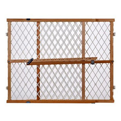 Supergate Wood Frame Diamond Mesh Gate, Fits Spaces between 26.5″ to 42″ Wide and 23″ High