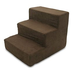 Best Pet Supplies ST200T-S Foam Pet Stairs/Steps, 3-Step, Dark Brown