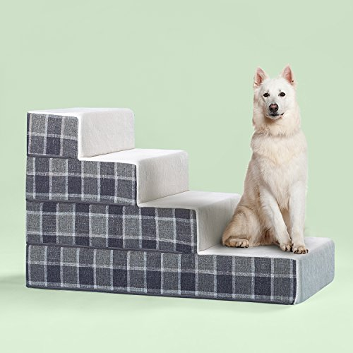Zinus Cozy Pet Stairs/Pet Ramp/Pet Ladder/Grey Checked, Large – FREE SHIPPING