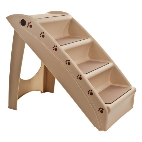 Best of – PETMAKER Folding Plastic Pet Stairs Durable Indoor or Outdoor 4 Step Design With Built-in Safety Features For Dogs Cats Home Travel by – TAN – FREE SHIPPING