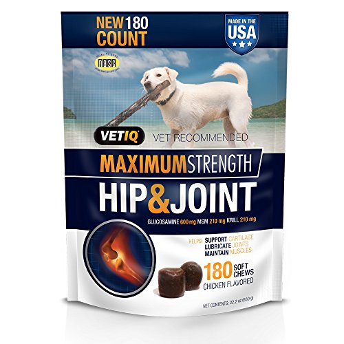 Effective – VetIQ Maximum Strength Hip and Joint Supplement for Dogs – Chicken Flavored Soft Chews, 22.2 oz – FREE SHIPPING