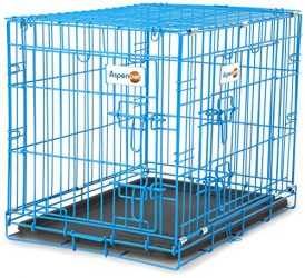Petmate Aspen Pet Puppy 2-Door Training Retreat Crate, 24″, Blue