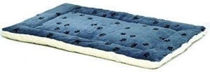 Reversible Paw Print Pet Bed in Blue / White, Dog Bed Measures 23.5L x 17W x 2.8H for Small Dogs, Machine Wash
