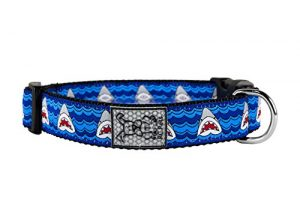 RC Pet Products 1″ Adjustable Dog Clip Collar, Shark Attack, Large