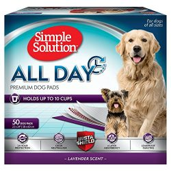 Simple Solution All Day Premium Dog and Puppy Pads with lavender Scent, Large – 50-Count