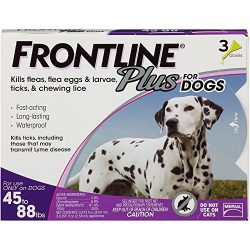 Frontline Plus Flea and Tick Control for Dogs and Puppies 8 weeks or older, 45 to 88 lbs, 3-Doses