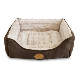 Best Pet Supplies Leather Polyester Filled Plush Square Bed For Dog And Cat, Small, Dark Brown