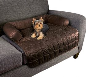 "Furniture Protector Pet Cover for Dogs and Cats with Shredded Memory Foam filled 3-Sided Bolster Soft Plush Fabric by PETMAKER – 30"" x 30.5"" Brown"
