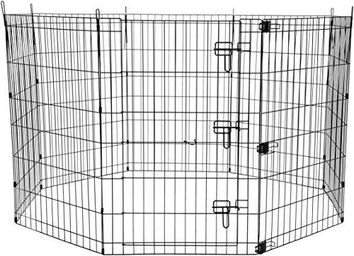 AmazonBasics Foldable Metal Pet Exercise and Playpen with Door, 36″