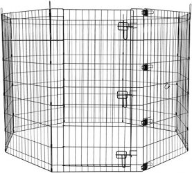 AmazonBasics Foldable Metal Pet Exercise and Playpen with Door, 42″