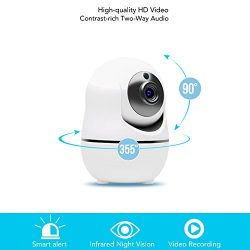Ouvis VZ1 1080 HD Pan Tilt Smart IP Wireless WiFi Camera Surveillance Systemwith Motion Detection, Siren Alarm, Two-way Audio, Night Vision, and APP for Android/iOS/iPhone/iPad/Tablet, White
