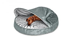 FurHaven Round Microvelvet Orthopedic Snuggery Burrow Pet Bed, Gray, 26-inch