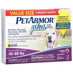 PETARMOR Plus Flea & Tick Prevention for Large Dogs with Fipronil (45 to 88 Pounds), 6 Monthly Treatments