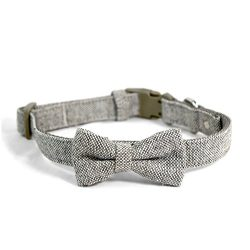 Martha Stewart Tweed Adjustable Bow Tie Collar for Dogs, Grey, Size 12