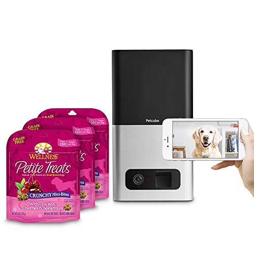 Petcube Bites Pet Camera (Matte Silver) with compatible Wellness Petite Grain Free Dog Treats, Variety Bundle