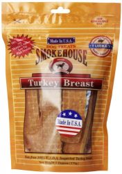SMOKEHOUSE TREATS Smokehouse 100-Percent Natural Turkey Breast Dog Treats, 6-Ounce