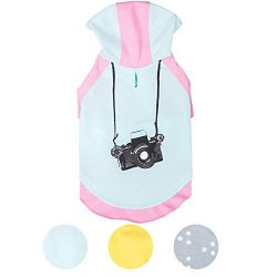 Blueberry Pet Cotton Dog Camera Hoodie in Mint & Hot Pink for Puppy, Back Length 8″, Pack of 1 Clothes for Dogs