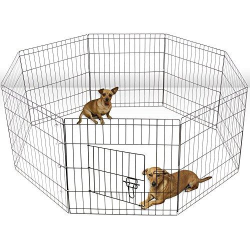 ALEKO 30 Inch Dog Playpen Pet Kennel Pen Exercise Cage Fence 8 Panel