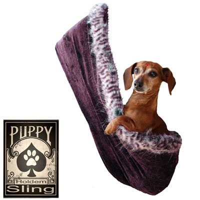 Pet Flys 500-072 EPLGXL Skull with Rose Rhinestone Puppy Holdem Sling Eggplant Velour with Purple Leo Trim, Large/X-Large
