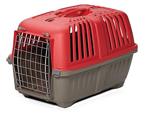 Pet Carrier: Hard-Sided Dog Carrier, Cat Carrier, Small Animal Carrier in Red| Inside Dims 17.91L x 11.5W x 12H & Suitable for Tiny Dog Breeds | Perfect Dog Kennel Travel Carrier for Quick Trips