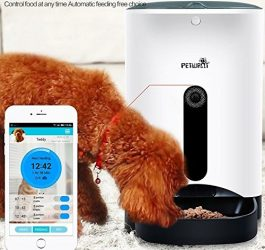 Homeself Smart Feeder,Automatic Pet Feeder Food Dispenser for Dogs & Cats with 1 Mega Pixels HD Camera,Control with Iphone,Andriod or other smart devices