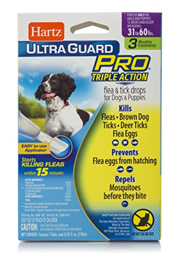 HARTZ UltraGuard Pro Triple Action Flea & Tick Drops for Dogs & Puppies 31-60lbs – 3 Monthly Treatments