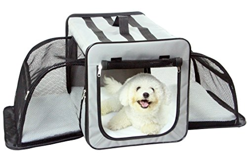Pet Life Capacious' Dual-Sided Expandable Spacious Wire Folding Collapsible Lightweight Pet Dog Crate Carrier House, Medium, Grey