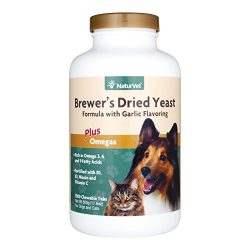 NaturVet Brewer's Dried Yeast Formula with Garlic Flavoring Plus Omegas for Dogs and Cats, 1000 ct Chewable Tablets, Made in USA