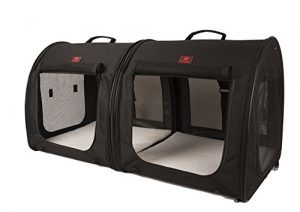 One for Pets Fabric Portable 2-in-1 Double Pet Kennel / Shelter, Black  20″x20″x39″ – Car Seat-belt Fixture Included