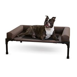 K&H Pet Products Original Bolster Pet Cot Elevated Pet Bed Medium Chocolate/Mesh 25″ x 32″ x 7″