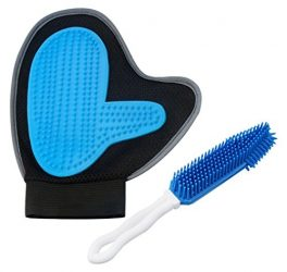 2-in-1 Pet Grooming Gloves Combo Pet Hair Cleaner Brush Pet Deshedding Brush Glove Mitt Massage Hair Removal Tool for Dogs Cats Long Short Hair with 1 Piece Dual Purpose Grooming Brush (Blue001)
