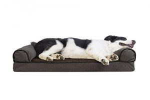 FurHaven Gel Foam Faux Fleece & Chenille Dog Couch Sofa Bed for Dogs and Cats, Coffee, Large