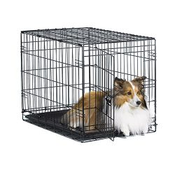 New World 30″ Folding Metal Dog Crate, Includes Leak-Proof Plastic Tray; Dog Crate Measures 30L x 19W x 21H Inches, For Medium Dog Breeds