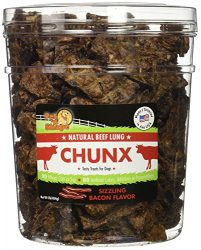 Pet 'n Shape –  Made in USA – CHUNX Beef Lung All Natural Dog Treats, Bacon Flavor, 1-Pound Tub
