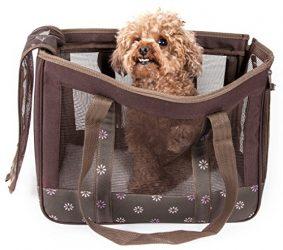 Pet Life Surround View' Posh Collapsible Fashion Designer Pet Dog Carrier, Medium, Mud Brown